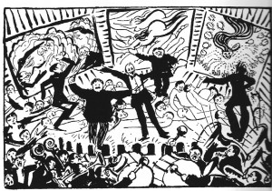 "Umberto Boccioni, ""Caricatura de una  velada futurista [1911]"", In : GÓMEZ Llanos, 'La dramaturgia de Filippo Tommaso Marinetti : el discurso artístico de la Modernidad', Vigo, Academia del Hispanismo, 2008."