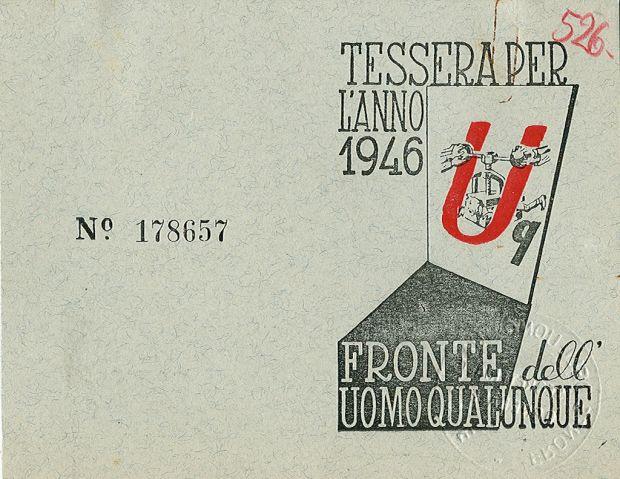 Tessera n. 178657 del partito «Fronte dell'Uomo Qualunque», 1946