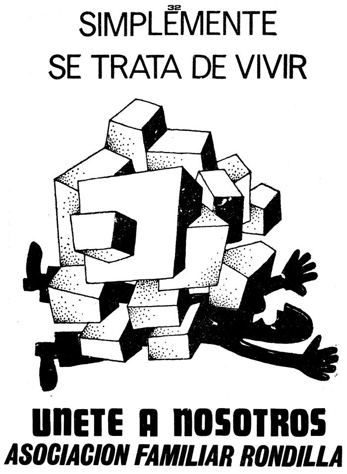 """Manuel Sierra Álvarez?, """"Solamente se trata de vivir. Slogan: Únete a nosotros"""", 1979 ca. Caricatura che simboleggia la densificazione del barrio La Rondilla"""