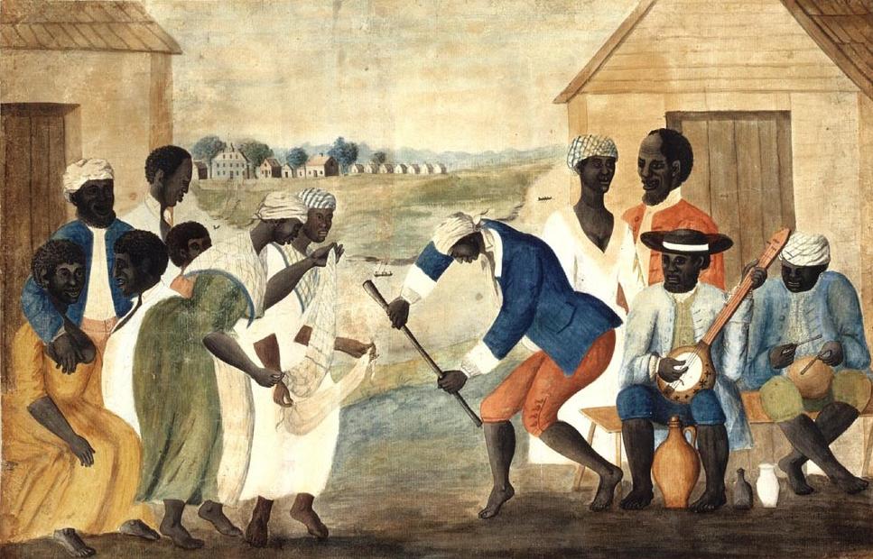 "John Rose? (1752-1820), ""The Old Plantation"", 1785-1790 ca. Acquerello su carta vergata, 29,7×45,4 cm. Williamsburg (Virginia, USA), Abby Aldrich Rockefeller Folk Art Museum (attraverso Wikimedia Commons [Public domain])"