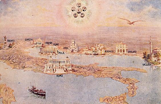 """Anonimo (?-?), """"L'Italia nei sogni degli irredentisti"""", s.d. Litografia su carta, 14×9 cm. S.l., s.c. (attraverso Wikimedia Commons [Public domain])"""