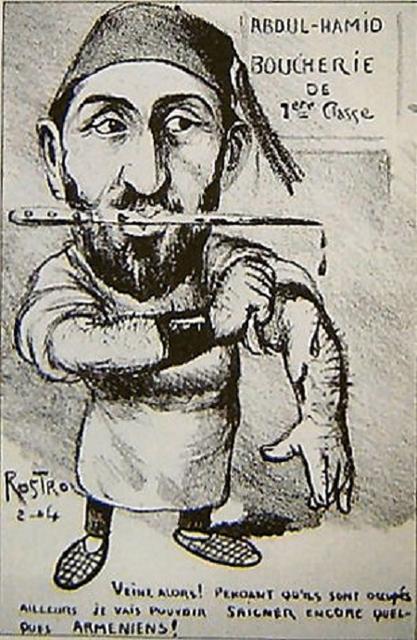 """Rostro? (?-?), """"Caricatura di Abdul Hamid II"""", s.d. Matita su carta, 14×9 cm. S.l., s.c. (attraverso Wikimedia Commons [Public domain])"""