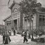 """Auguste Trichon (1814-1898), """"Le pavillon des travaux publics et le pavillon des manufactures de l'état, dans le parc du Champ-de-Mars"""", 1879. Incisione su carta, 33,2×22,7 cm. Providence, Brown University Library (attraverso Wikimedia Commons [Public domain])"""