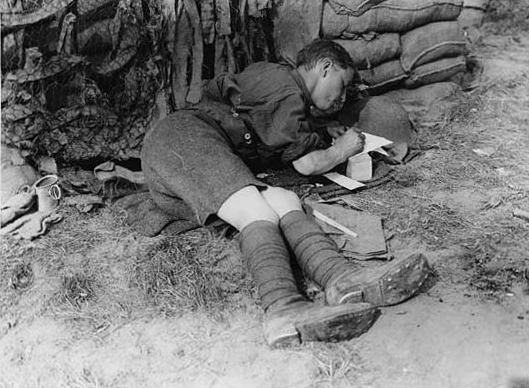 """Writing home"" by National Library of Scotland on First World War Official Photographs (CC BY-NC-SA 2.5 UK: Scotland)"