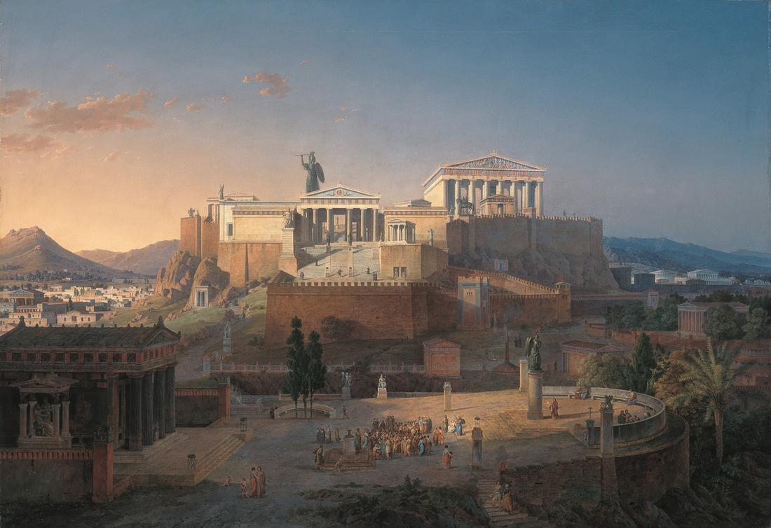 Leo von Klenze, Ideale Ansicht der Akropolis und des Areopags in Athen, 1846 (via Wikimedia Commons [CC BY-SA 3.0])