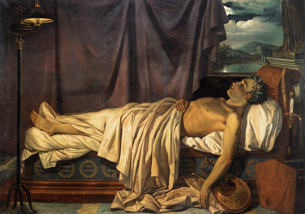 Joseph Denis Odevaere, Lord Byron on his Death-bed, olio su tela, 1826 (via Wikimedia Commons [CC BY-SA 3.0])