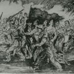 """""""La Horda vuelve del Cuartel de la Montaña"""", di Antonio Casero. Mostra: """"¡Así eran los rojos!"""", Madrid (1943). Fonte: Archivo General de la Administración, Cultura"""