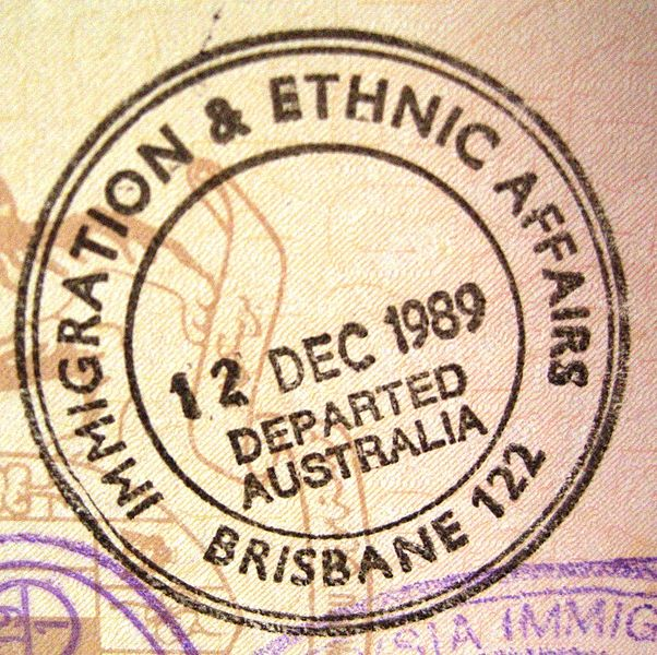 """Passport exit stamp from Brisbane Airport"" by Slleong on Wikimedia Commons (Public domain)"