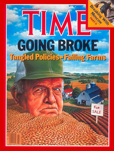 "Mark Hess (1954-), ""Failing Farms"", «Time»: Volume 125, Numero 7 (18 Febbraio 1985), copertina. The Smithsonian Museum, Washington DC (© L'immagine appartiene ai rispettivi proprietari / Property of its respective owners)"