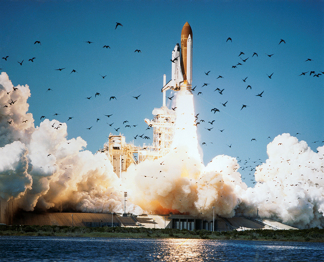 """Space Shuttle Challenger Lifts Off"" by NASA Johnson on Flickr (CC BY-NC 2.0)"