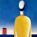 """Kazimir Malevich (1878-1935), """"Complex Presentiment: Half-Figure in Yellow Shirt"""", 1928-1932 ca. Olio su tela, 99×79 cm. San Pietroburgo, Museo di Stato Russo (attraverso Wikimedia Commons [Public domain])"""