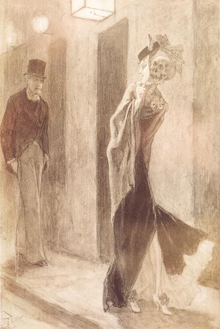 """Félicien Rops (1833-1898), """"Parodie humaine"""", 1878-1881. Matita e gessetto su carta, 22,5×15,5 cm. Parigi, collezione privata (attraverso Wikimedia Commons [Public domain])"""