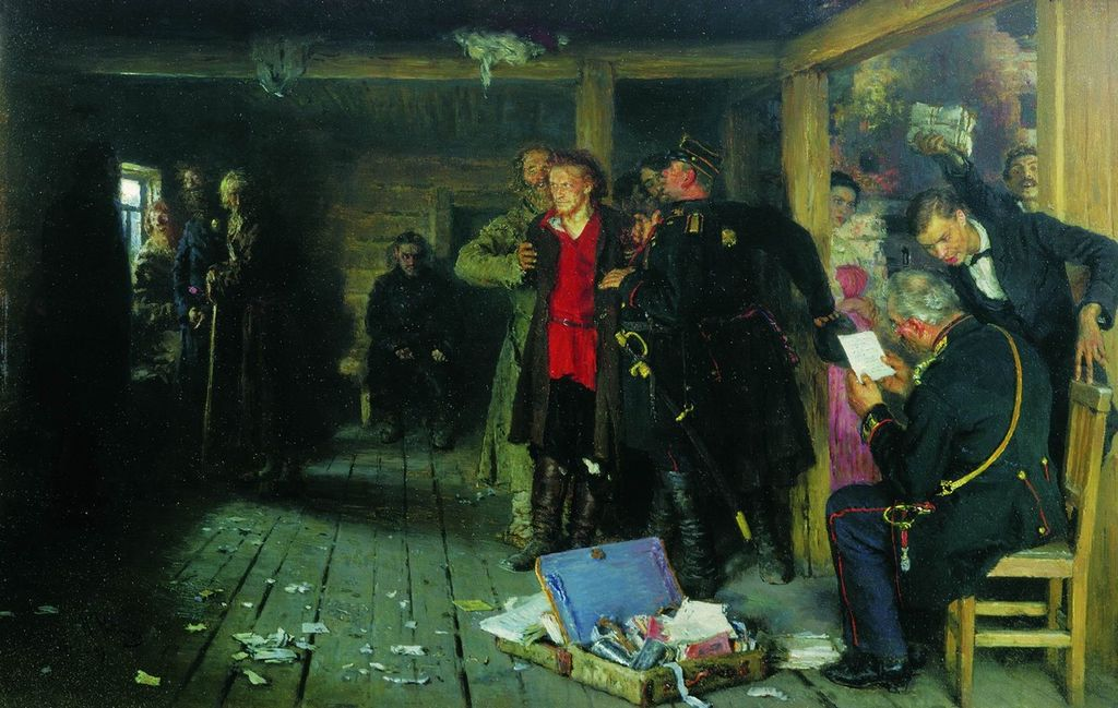 Il'ja Efimovič Repin, <em>Arresto di un propagandista</em>, 1880. Olio su tavola. 34.8 × 54.6 cm. Galleria statale Tret'jakov, Mosca. (via Wikimedia Commons [CC BY-SA 3.0])