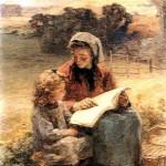 """""""Léon Augustin Lhermitte (1844-1925), La leçon de lecture, 1913"""" by Olio su tela, 56 x 43 cm. Collezione privata (via Wikiart [Public Domain])"""