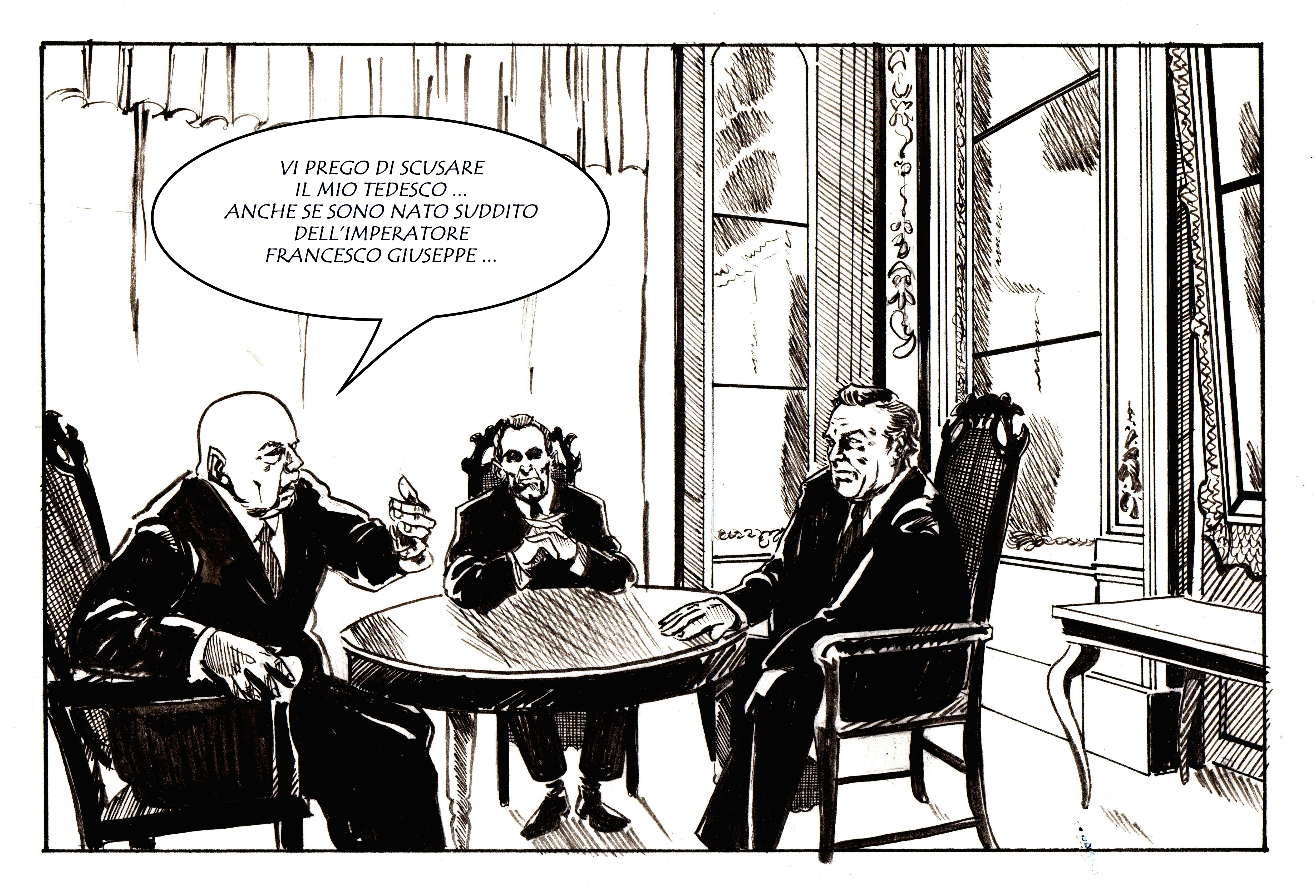Josef Cyrankiewicz a colloquio con Egon Bahr e Willy Brandt. Disegno di Giulia Giaccaglia ©
