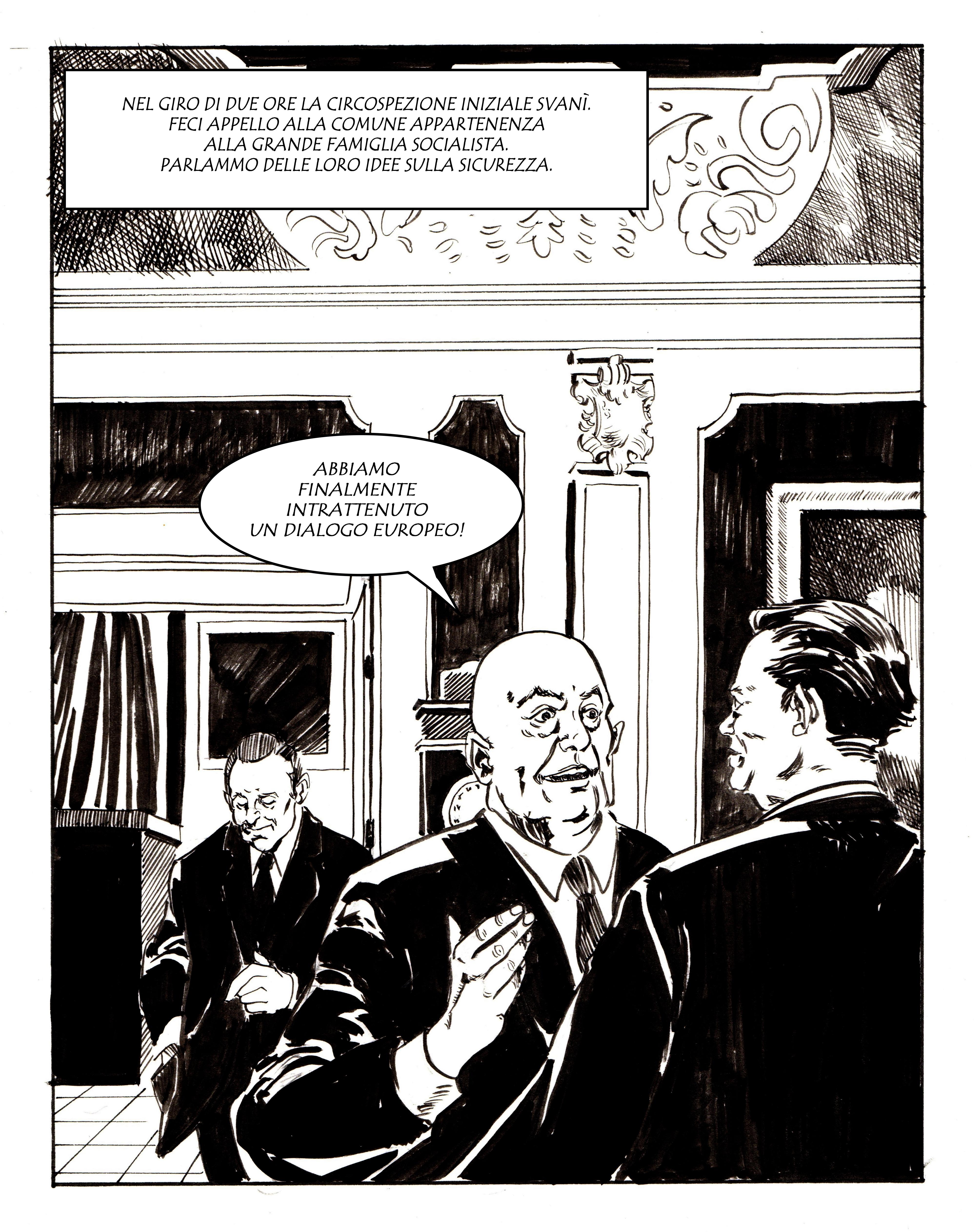 Josef Cyrankiewicz al termine della discussione con Willy Brandt. Disegno di Giulia Giaccaglia ©
