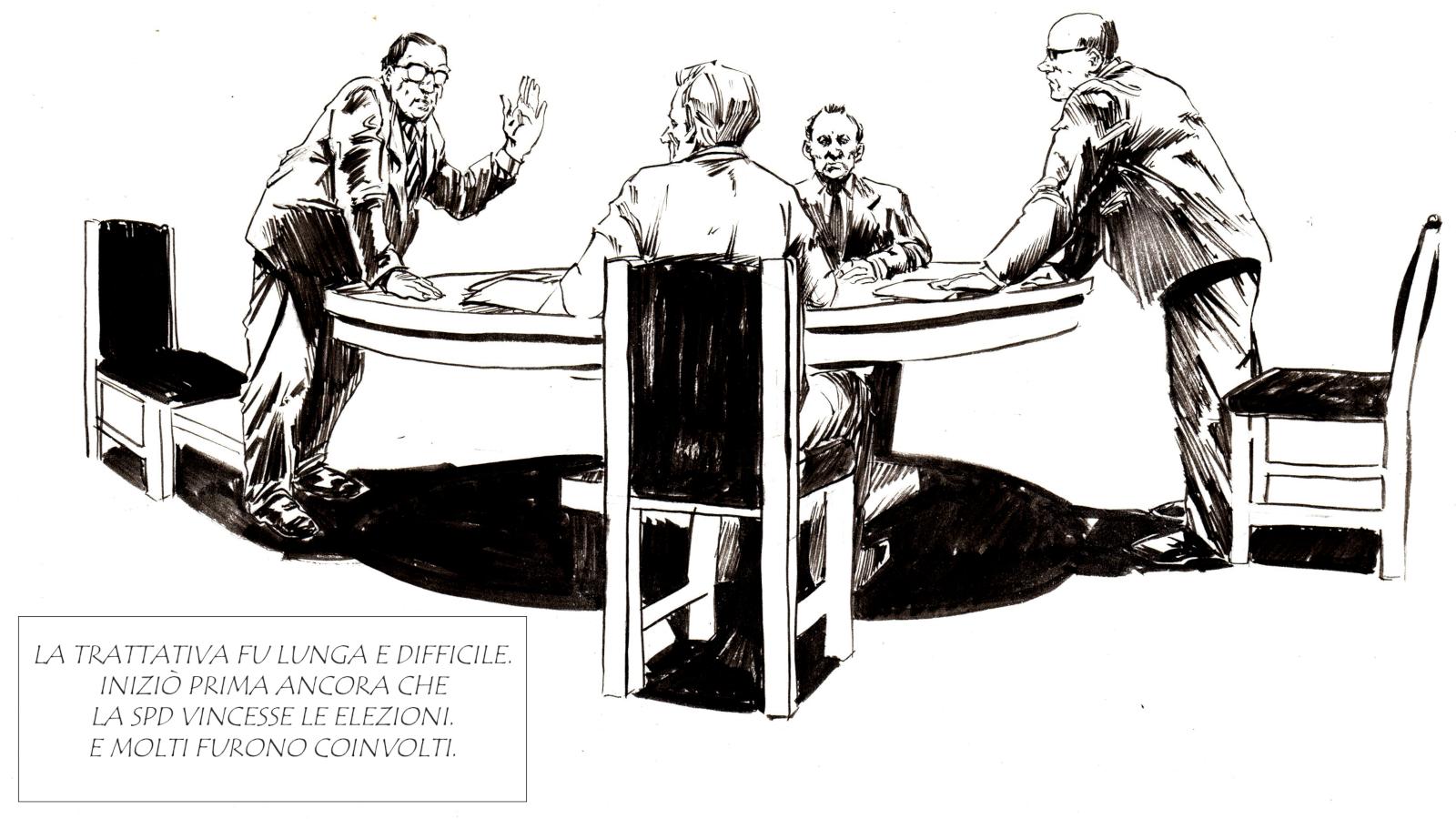 Il tavolo delle trattative con la Polonia e i molti uomini che vi lavorarono: oltre a Egon Bahr, Paul Frank, Georg Ferdinand Duckwitz e Józef Marja Winiewicz.