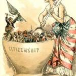 L'idea del melting pot è presente, anche se non ancora popolare, nella pubblicistica americana già prima di Zangwill. Lo dimostra questa vignetta della fine degli anni Ottanta dell'Ottocento in cui gli irlandesi sono raffigurati come gli unici che non si mescolano nel 'mortaio' dell'assimilazione.