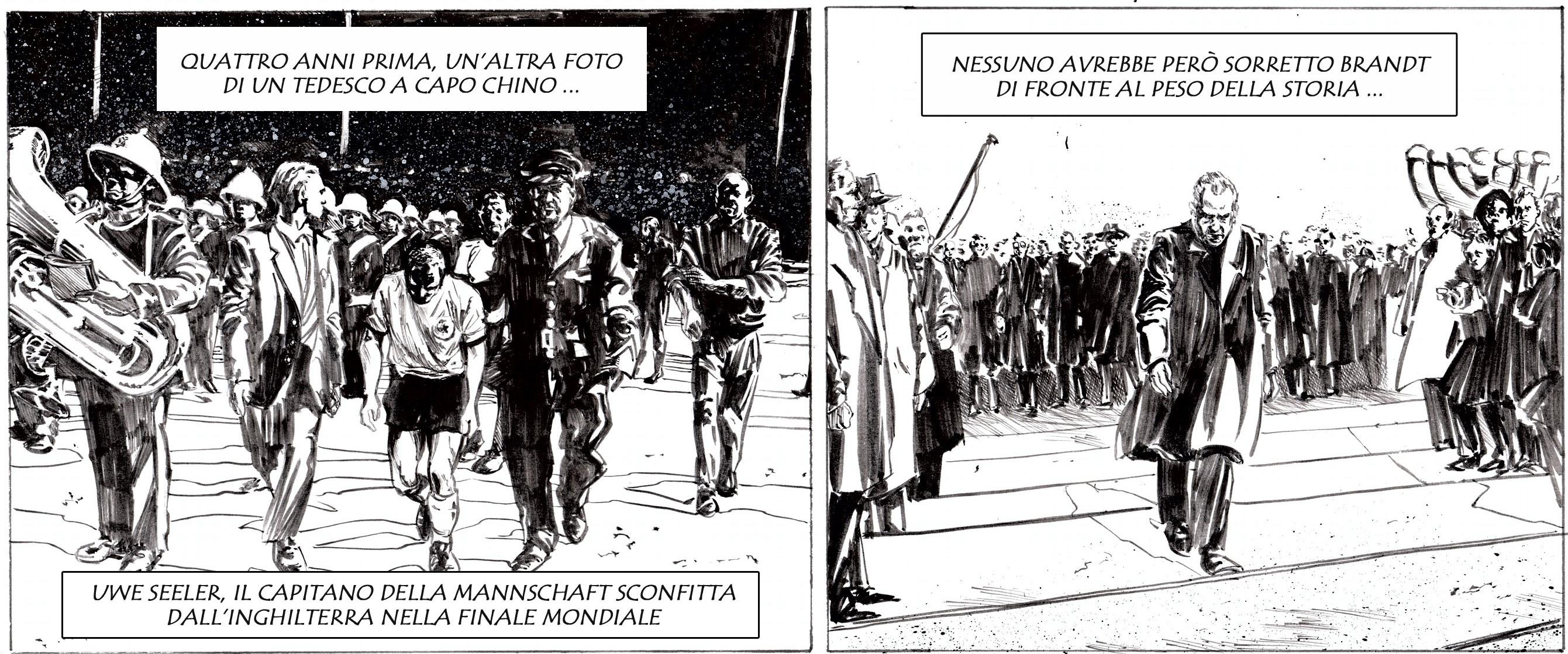 Due prostrazioni diverse, lo stesso paese: Uwe Seeler a Londra, nel 1966, Willy Brandt a Varsavia, nel 1970. Disegno di Giulia Giaccaglia ©