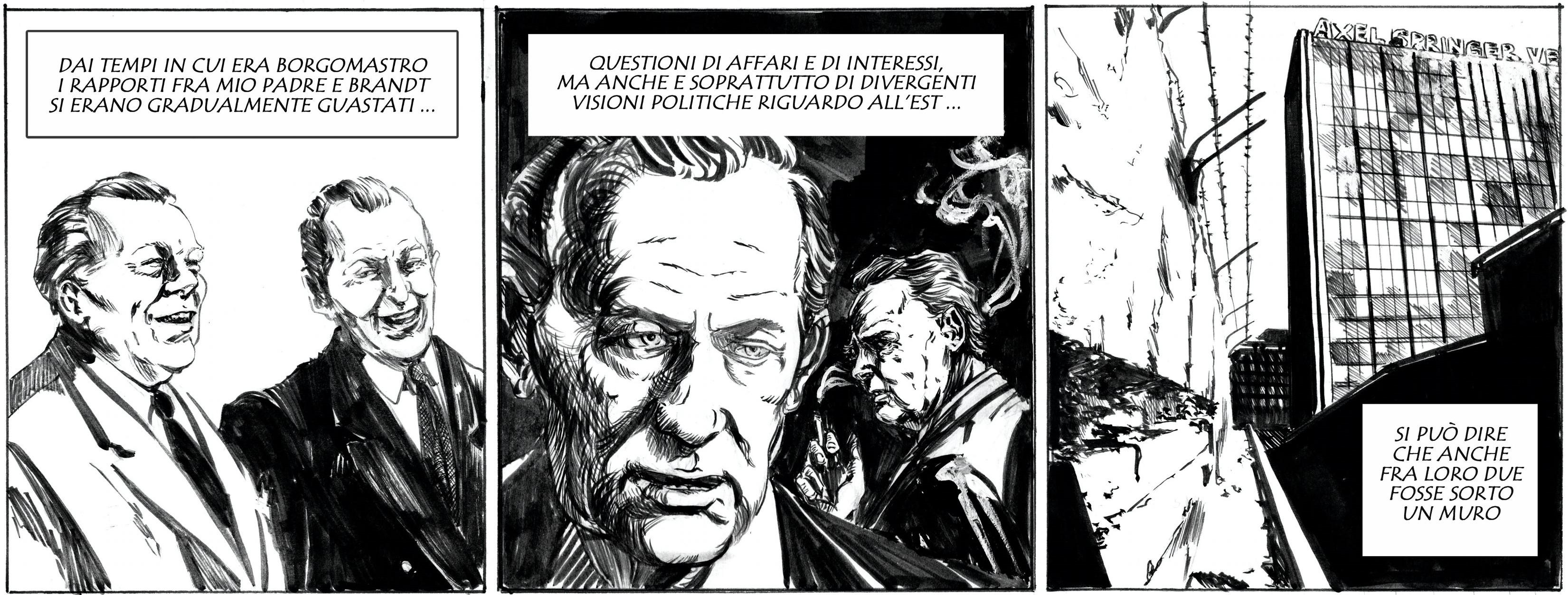 L'evoluzione del rapporto fra Willy Brandt e Axel Springer. Disegno di Giulia Giaccaglia ©