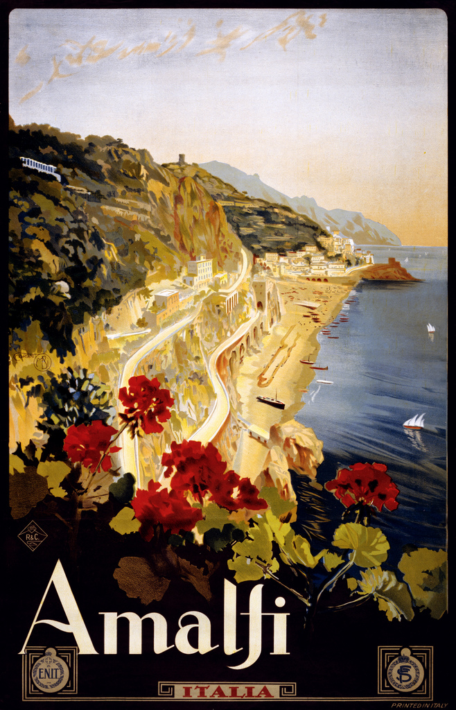 """Amalfi, travel poster for ENIT, ca. 1915"" by trialsanderrors on Flickr (CC BY 2.0)"