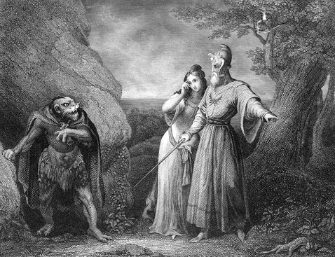 "&quotCaliban, Miranda, Prospero - <i>The Tempest</i>, 1875"" by C.W. Sharp"