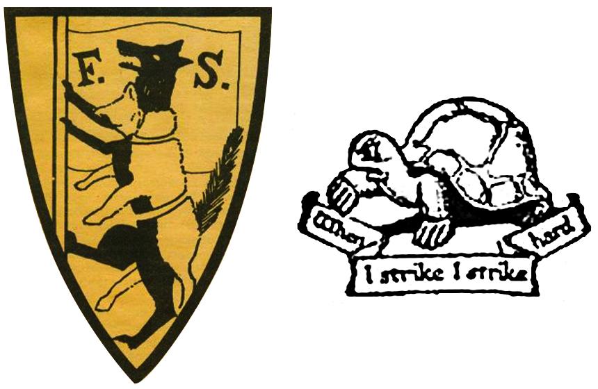 """Simboli della Fabian Society: a sinistra, il """"Wolf in Sheep's Clothing"""" («Lupo con le sembianze di pecora»); a destra, la """"Tortoise"""" («Testuggine») accompagnata dal motto """"When I strike, I strike hard"""" («Quando colpisco/faccio sciopero, colpisco/faccio sciopero duramente»)"""