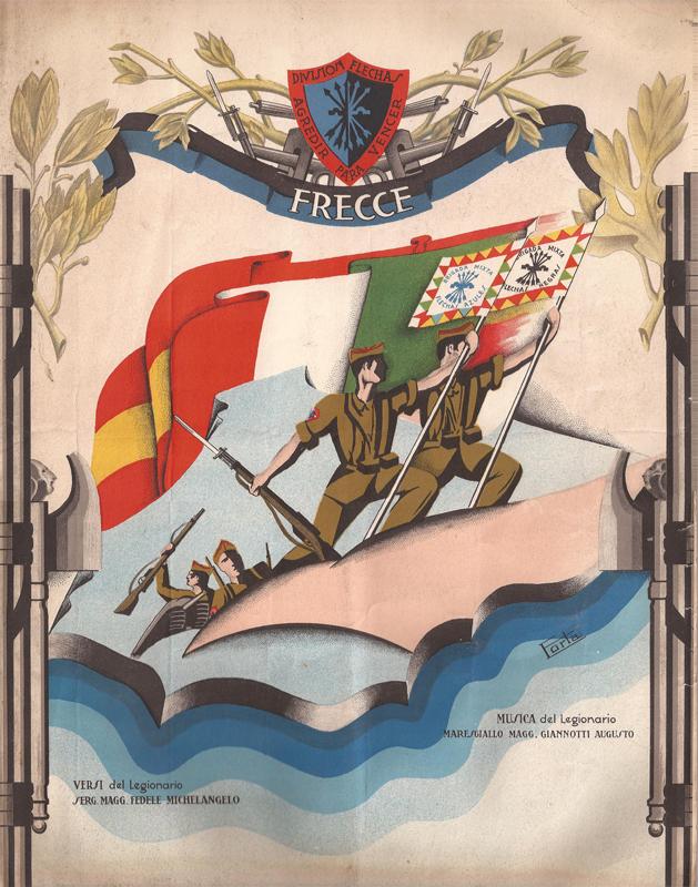 """M.llo Magg. Augusto Giannotti (?) e S.M. Michelangelo Fedele (1911-?), """"Frecce"""", Saragozza, Litografía Portabella, 1938 ca. Litografia su carta, 22×17 cm. Bolzano, Archivio privato """"Famiglia de Rensis"""" (CC BY-ND 3.0). Riproduzione fotomeccanica del frontespizio, che mostra lo stemma della """"División Flechas"""" (motto: """"Agredir para vencer"""") e una illustrazione firmata """"Forta"""""""