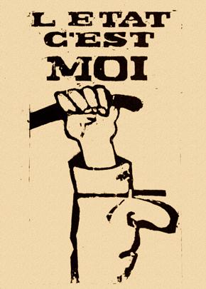 """Anonimo, """"L'Etat c'est moi"""", 1968. Manifesto stampato su carta, 85,2×50,5 cm. Presentato nell'esposizione """"May 68"""", ref. 1237, Centre de l'Affiche de la mairie de Toulouse, stagione 2007/2008"""
