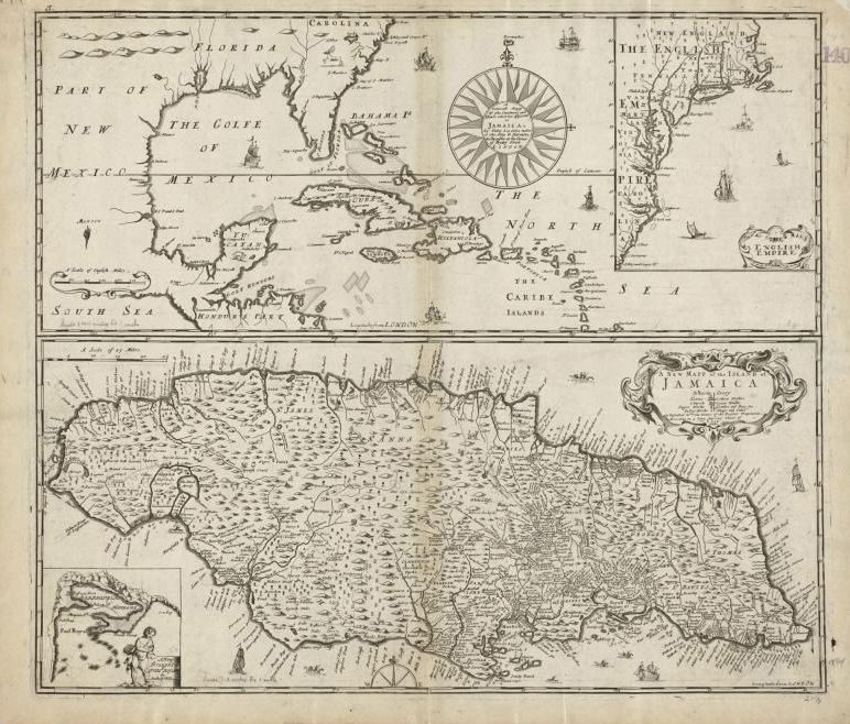 """A generall mapp of the continent and islands which bee adjacent to Jamaica ; A new mapp of the Island of Jamaica"" by Norman B. Leventhal Map Center at the BPL on Flickr (CC BY 2.0)"