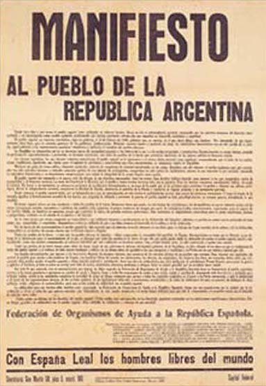 """Manifiesto al pueblo de la República Argentina"", 1937 ca. Riproduzione digitale di un manifesto stampato su carta. Valencia, Biblioteca Histórica de la Universidad de Valencia (© L'immagine appartiene ai rispettivi proprietari / Property of its respective owners)"