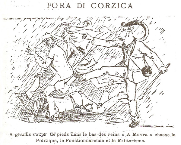 "Ranfia (Dominique Massa), ""Fora di Corzica"", 1921. Caricatura apparsa sulla rivista «A Muvra», 22 settembre 1921, p. 1 (© L'immagine appartiene ai rispettivi proprietari / Property of its respective owners)"
