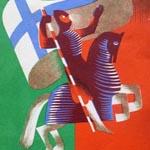 """Eduardo Anahory (1917-1985), Senza titolo, 1939 ca. Litografia su carta, 21×12,5 cm. Illustrazione riportata sulla copertina della """"Guia Oficial da Exposição do Mundo Português"""", Lisboa, s.e., 1940 (attraverso Wikimedia Commons [Public domain])"""