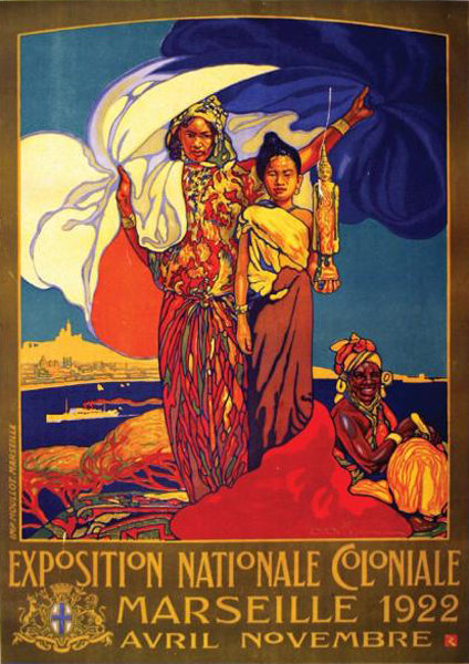 "David Dellepiane (1866-1932), ""Exposition Nationale Coloniale, Marseille 1922"", 1922. Litografia su carta, 105×75 cm. Collezione privata (attraverso Wikimedia Commons [Public domain])"