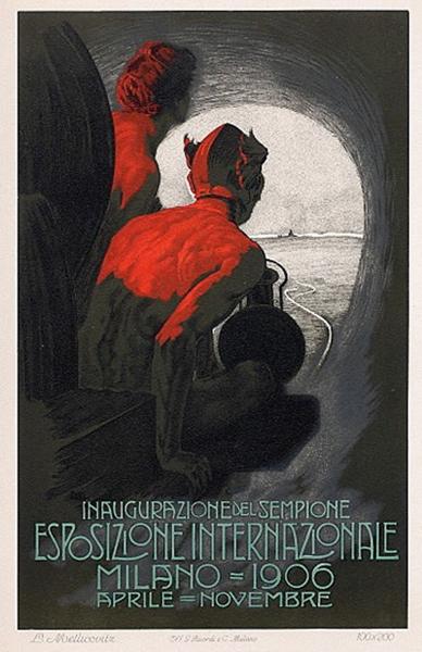 """Leopoldo Metlicovitz (1868-1944), """"Inaugurazione del Sempione, Esposizione Internazionale. Milano, 1906"""", 1905 ca. Litografia su carta, 200×100 cm. Venezia, Archivio storico Museo della Scienza e della Tecnologia / Fondo CNR (attraverso Wikipedia.it [Public domain])"""