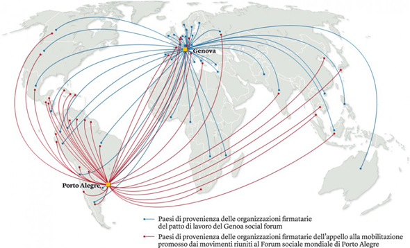 """""""Il movimento no-global"""". Mappa tratta da LOPEZ IZQUIERDO, Nieves, «Le rivolte degli indignati», in """"Internazionale"""", 984, 25 gennaio 2013 (© L'immagine appartiene ai rispettivi proprietari / Property of its respective owners)"""