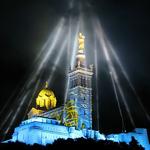 """""""Marseille Capitale Européenne de la Culture 2013, illuminations Notre-Dame de la Garde 2"""" by Denis Honnorat via Wikimedia Commons (CC BY-SA 3.0)"""