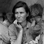 "Dorothea Lange (1895 -1965), ""Migrant Mother"", 1936. Riproduzione fotomeccanica, 10×13 cm. Washington D.C., Library of Congress: Prints and Photographs Division (attraverso Wikimedia Commons [Public domain])"
