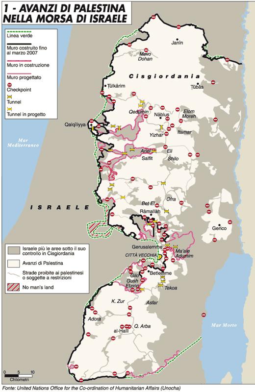 """""""Avanzi di Palestina nella morsa di Israele"""". Mappa di Luca Canali tratta da """"Limes"""": «La Palestina impossibile», 5/2007, 28 settembre 2007 (© L'immagine appartiene ai rispettivi proprietari / Property of its respective owners)"""