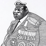 """Caricature of Idi Amin, President of Uganda from 1971 to 1979"" by Edmund S. Valtman on Wikimedia Commons (Public domain)"