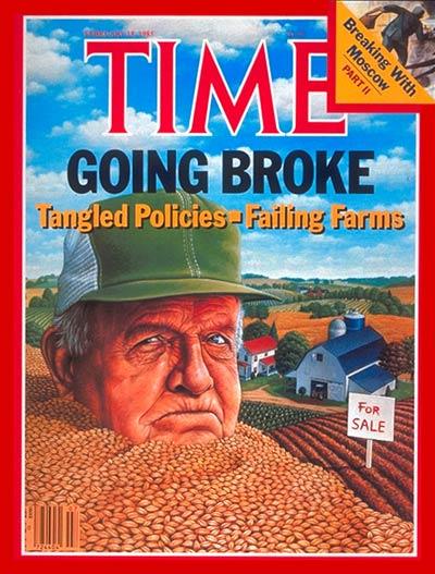 """Mark Hess (1954-), """"Failing Farms"""", «Time»: Volume 125, Numero 7 (18 Febbraio 1985), copertina. The Smithsonian Museum, Washington DC (© L'immagine appartiene ai rispettivi proprietari / Property of its respective owners)"""