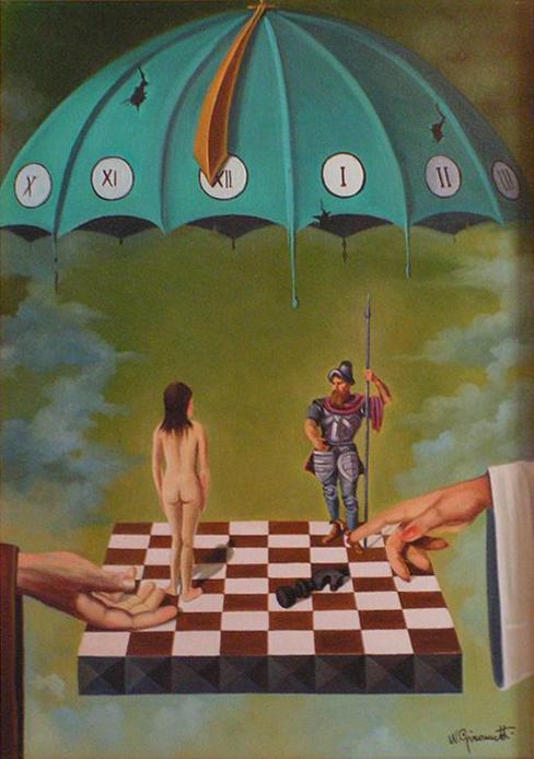 """William Girometti (1924-1998), """"Partita impegnativa"""", 1972. Olio su tela, 50×70 cm. Collezione privata (attraverso Wikimedia Commons [Public domain])"""