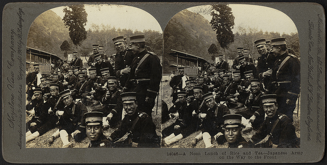 """A noon lunch of rice and tea - Japanese Army on the way to the front"" by Boston Public Library on Flickr (CC BY 2.0)"