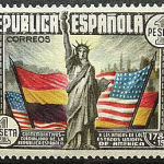 """Stamp of the Second Spanish Republic honoring 150th anniversary of the Constitution of the United States"" by Fábrica de Moneda y Timbre - Second Spanish Republic on Flickr (CC BY-NC-ND 2.0)"