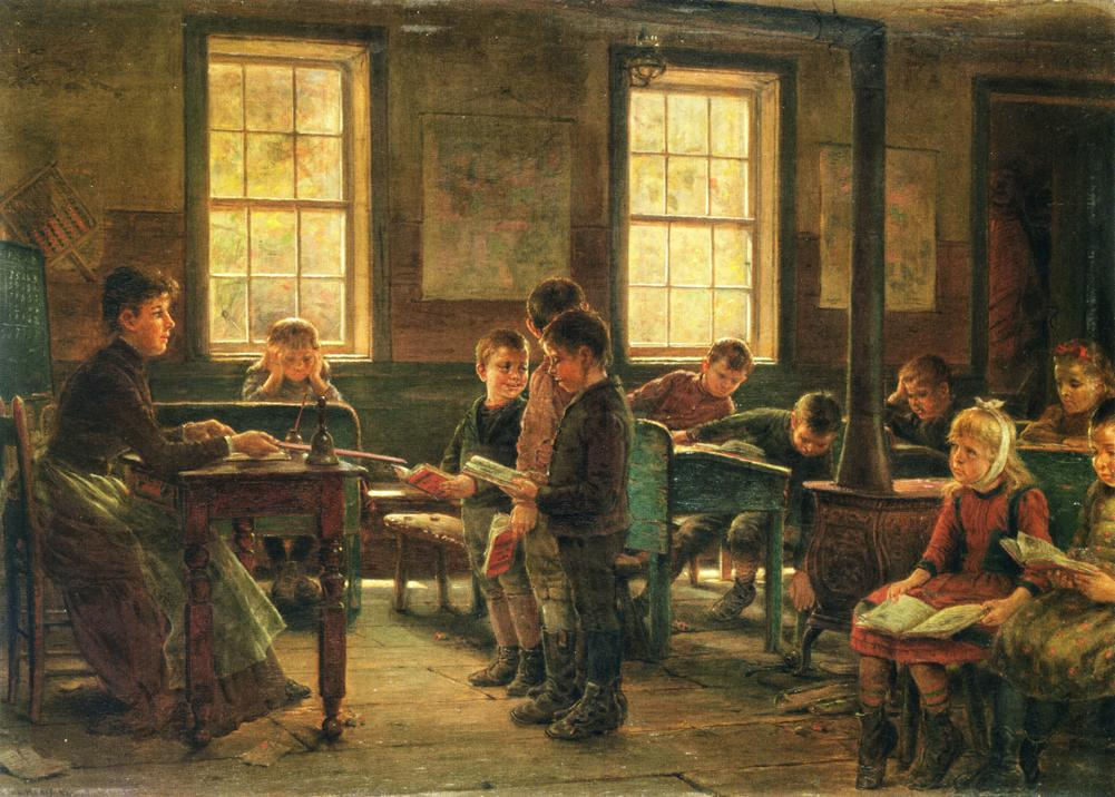 """Edward Lamson Henry (1841-1919), A Country School, 1891"" Olio su tela, 12x17,25cm. Yale University Art Gallery (via Athenaeum [Public Domain])"