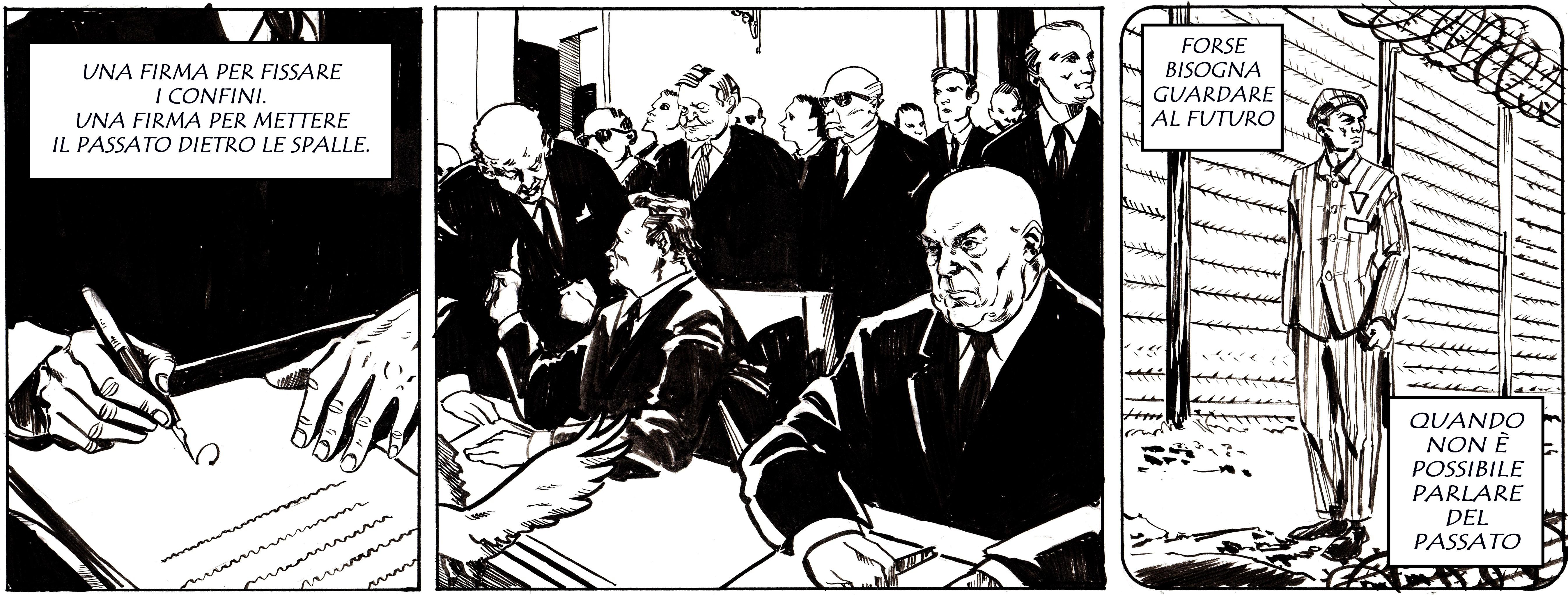 La firma del Trattato di Varsavia. Disegno di Giulia Giaccaglia ©