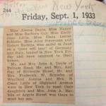 """""""Clara Schiefer Diary, Sept 1 1933, p. 244"""" (C)"""