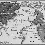 """""""Il confine italo-austriaco allo scoppio della prima guerra mondiale. In scuro le terre «irredente»."""