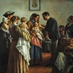 """""""Demetrio Cosola (1851-1895), La vaccinazione nelle campagne, 1894. Pastello su carta telata, 240 x 145cm. Chivasso, Palazzo Santa Chiara."""