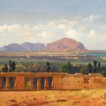 """""""Francesco Lojacono (1838-1915), Palermo e il Monte Pellegrino (1874).  Olio su tela, 41 x 94 cm"""" by The Atenaeum via Wikimedia Commons (Public Domain)"""